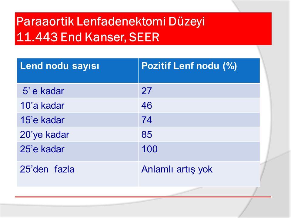 Paraaortik Lenfadenektomi Düzeyi 11.443 End Kanser, SEER