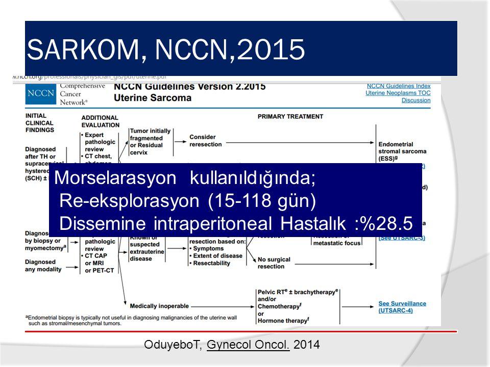 SARKOM, NCCN,2015 Morselarasyon kullanıldığında;