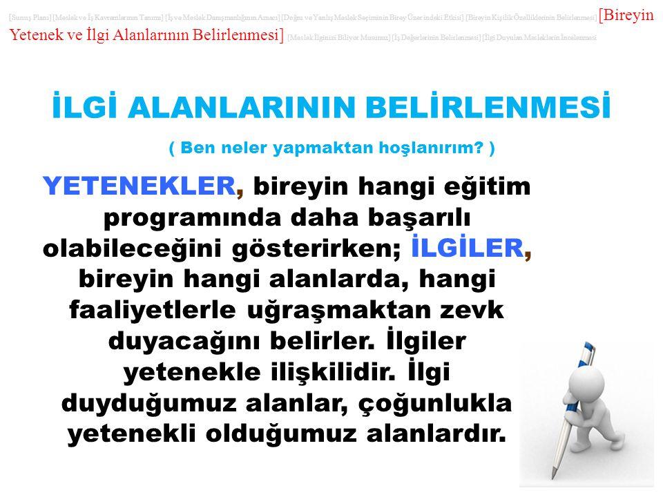 İLGİ ALANLARININ BELİRLENMESİ