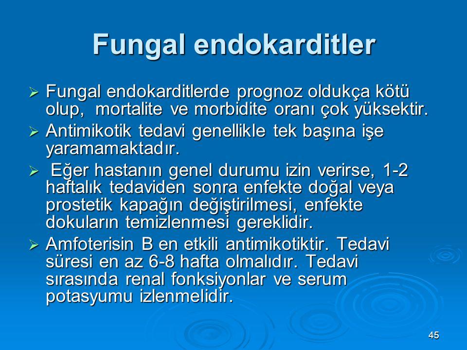 Fungal endokarditler Fungal endokarditlerde prognoz oldukça kötü olup, mortalite ve morbidite oranı çok yüksektir.