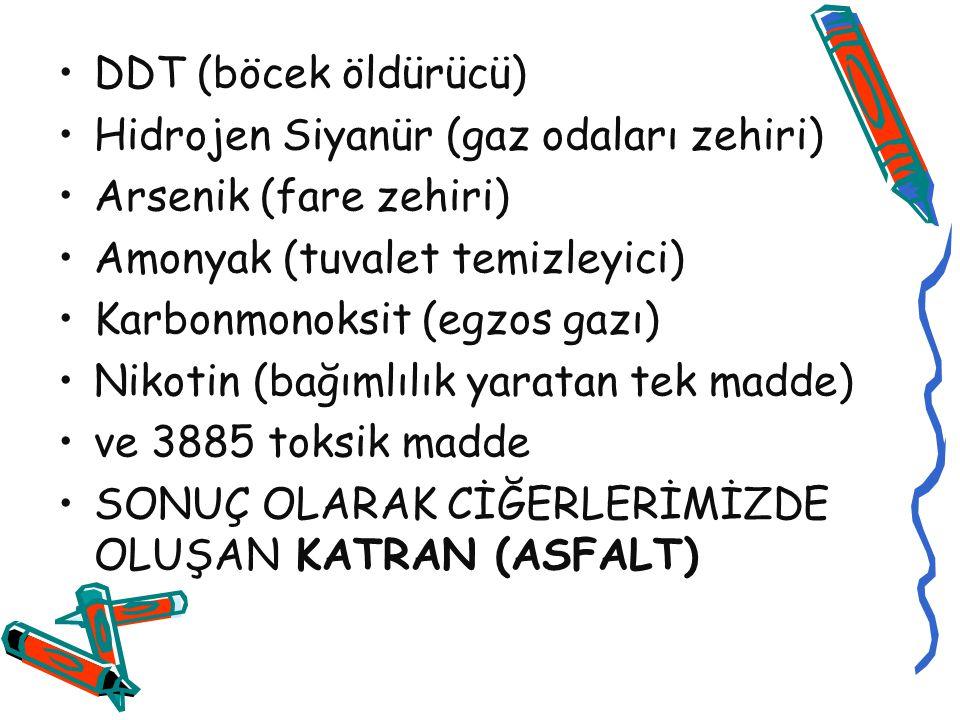 DDT (böcek öldürücü) Hidrojen Siyanür (gaz odaları zehiri) Arsenik (fare zehiri) Amonyak (tuvalet temizleyici)