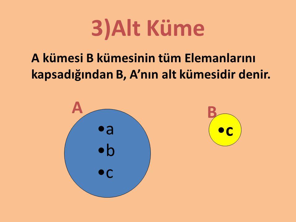 3)Alt Küme A kümesi B kümesinin tüm Elemanlarını kapsadığından B, A'nın alt kümesidir denir. A. B.