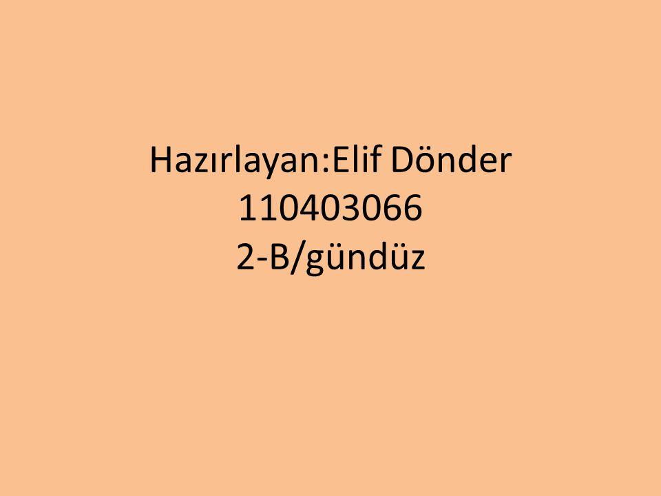 Hazırlayan:Elif Dönder 110403066 2-B/gündüz