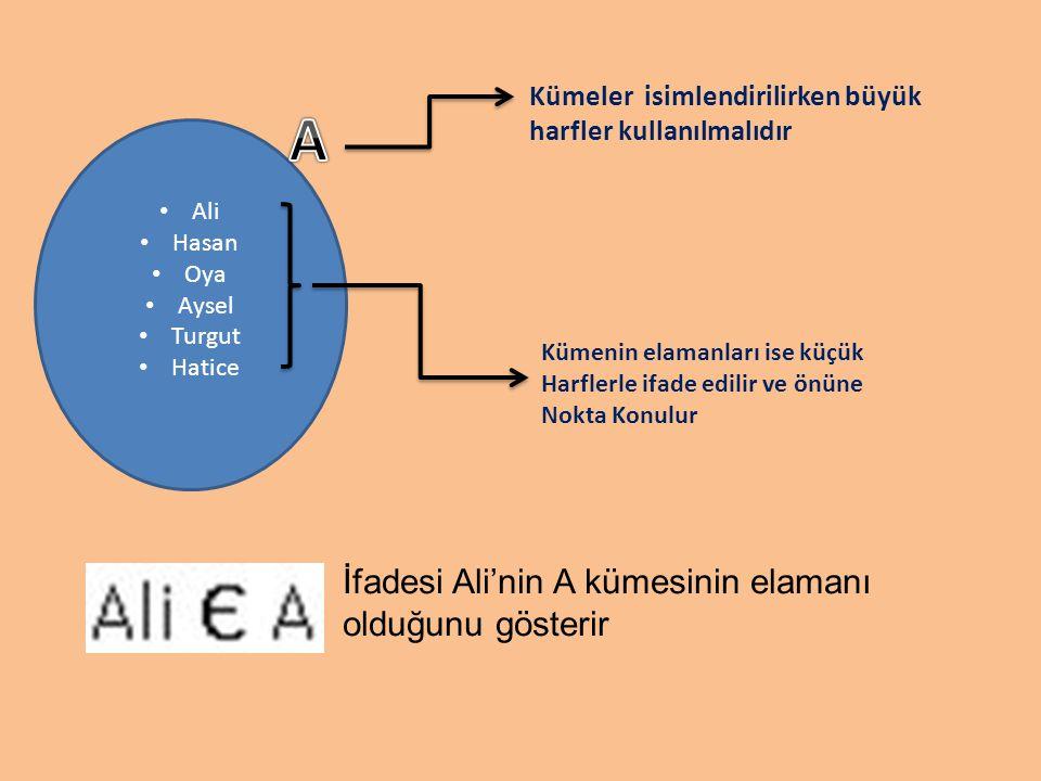 A İfadesi Ali'nin A kümesinin elamanı olduğunu gösterir