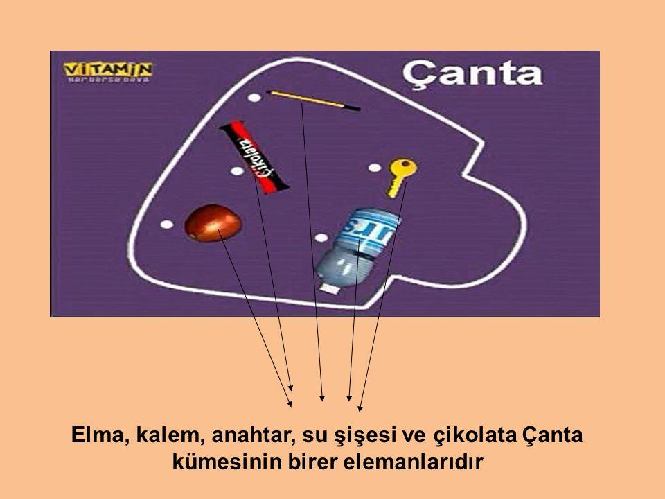 Elma, kalem, anahtar, su şişesi ve çikolata Çanta kümesinin birer elemanlarıdır