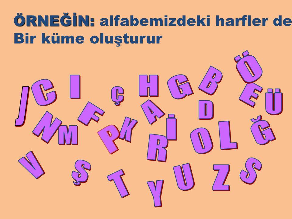 ÖRNEĞİN: alfabemizdeki harfler de
