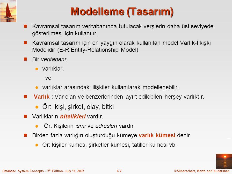 Modelleme (Tasarım) Ör: kişi, şirket, olay, bitki