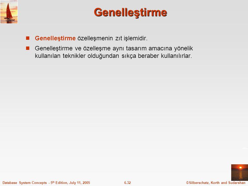 Genelleştirme Genelleştirme özelleşmenin zıt işlemidir.