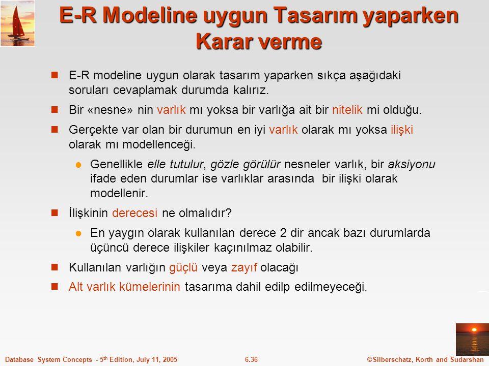 E-R Modeline uygun Tasarım yaparken Karar verme