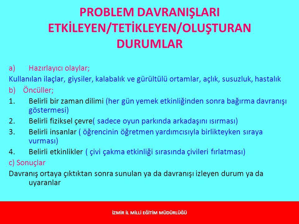PROBLEM DAVRANIŞLARI ETKİLEYEN/TETİKLEYEN/OLUŞTURAN DURUMLAR