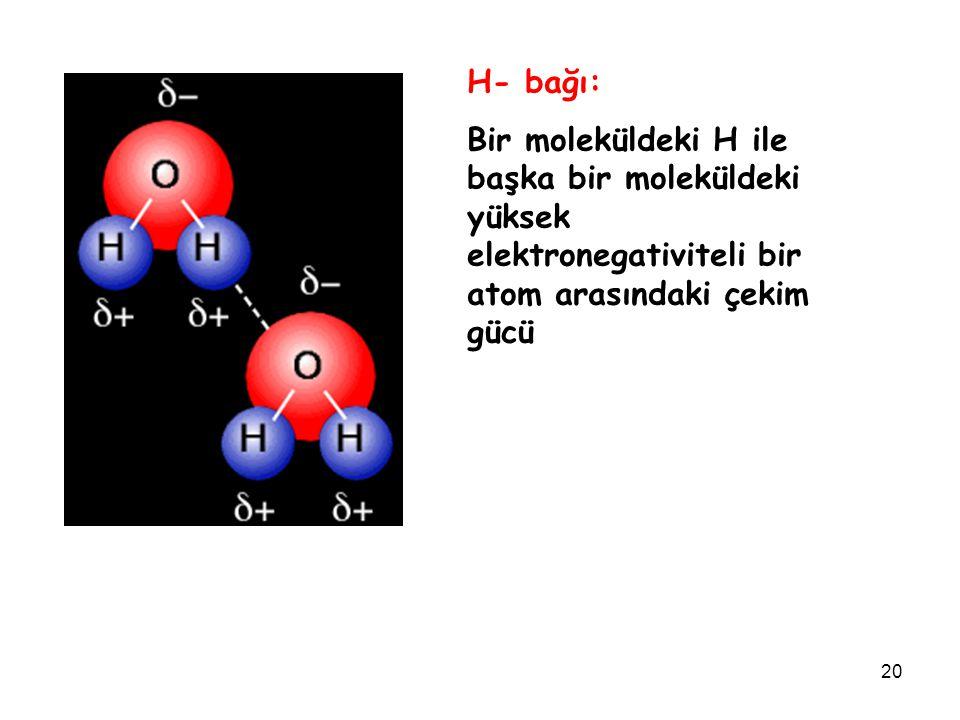 H- bağı: Bir moleküldeki H ile başka bir moleküldeki yüksek elektronegativiteli bir atom arasındaki çekim gücü.