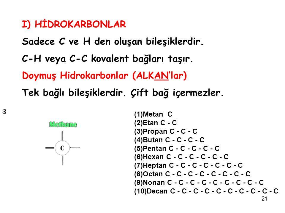 Sadece C ve H den oluşan bileşiklerdir.