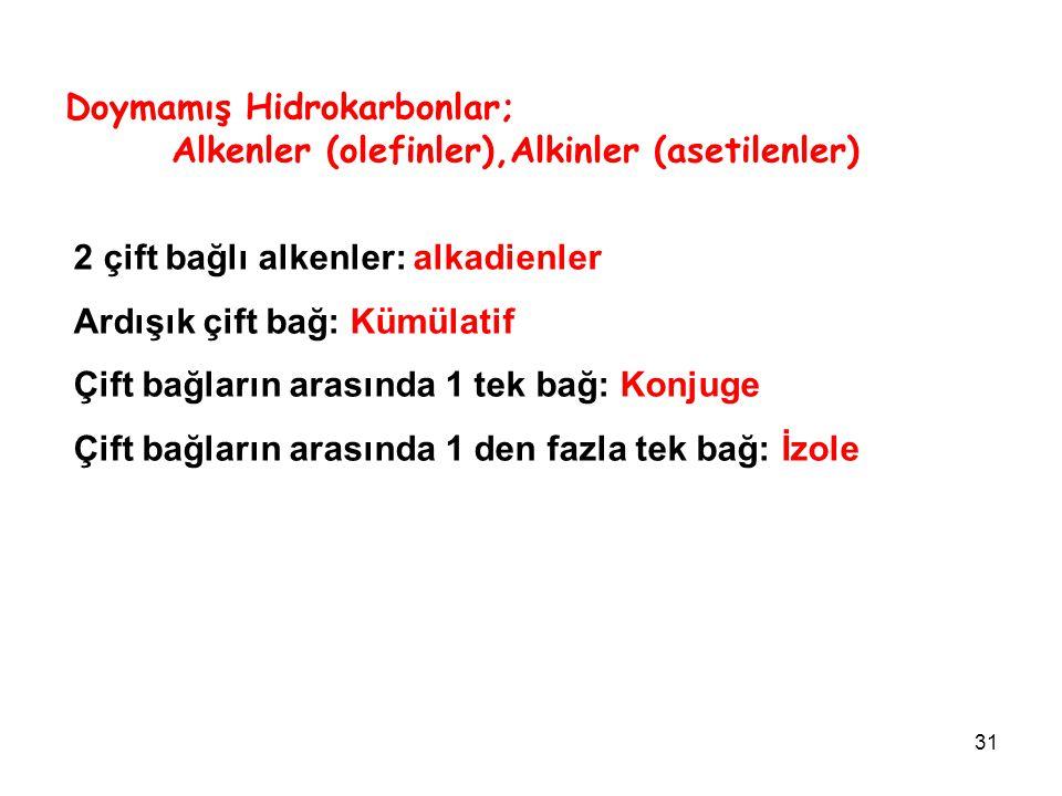 Doymamış Hidrokarbonlar; Alkenler (olefinler),Alkinler (asetilenler)