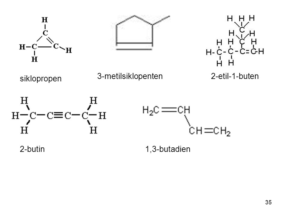 3-metilsiklopenten 2-etil-1-buten siklopropen 2-butin 1,3-butadien
