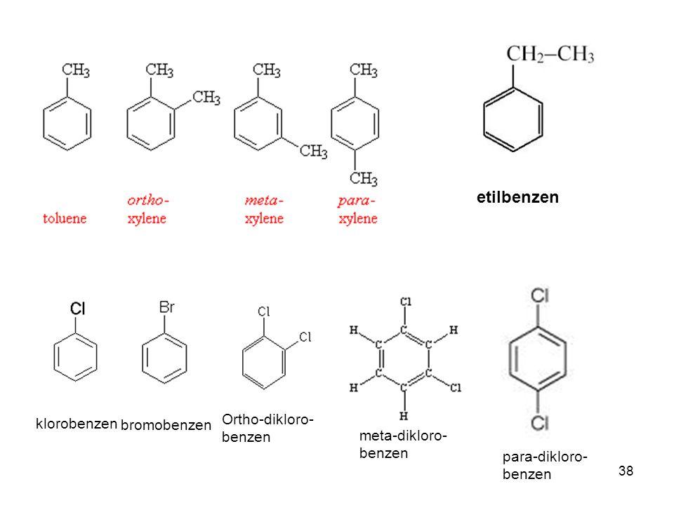 etilbenzen Ortho-dikloro-benzen klorobenzen bromobenzen