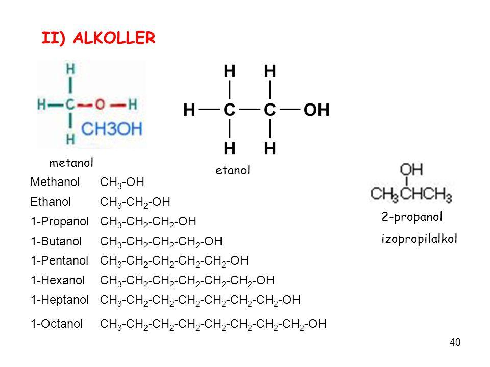 II) ALKOLLER metanol etanol Methanol CH3-OH Ethanol CH3-CH2-OH
