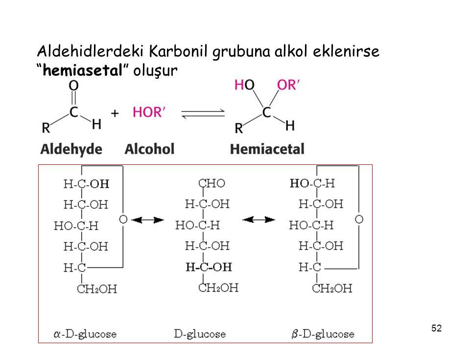 Aldehidlerdeki Karbonil grubuna alkol eklenirse hemiasetal oluşur