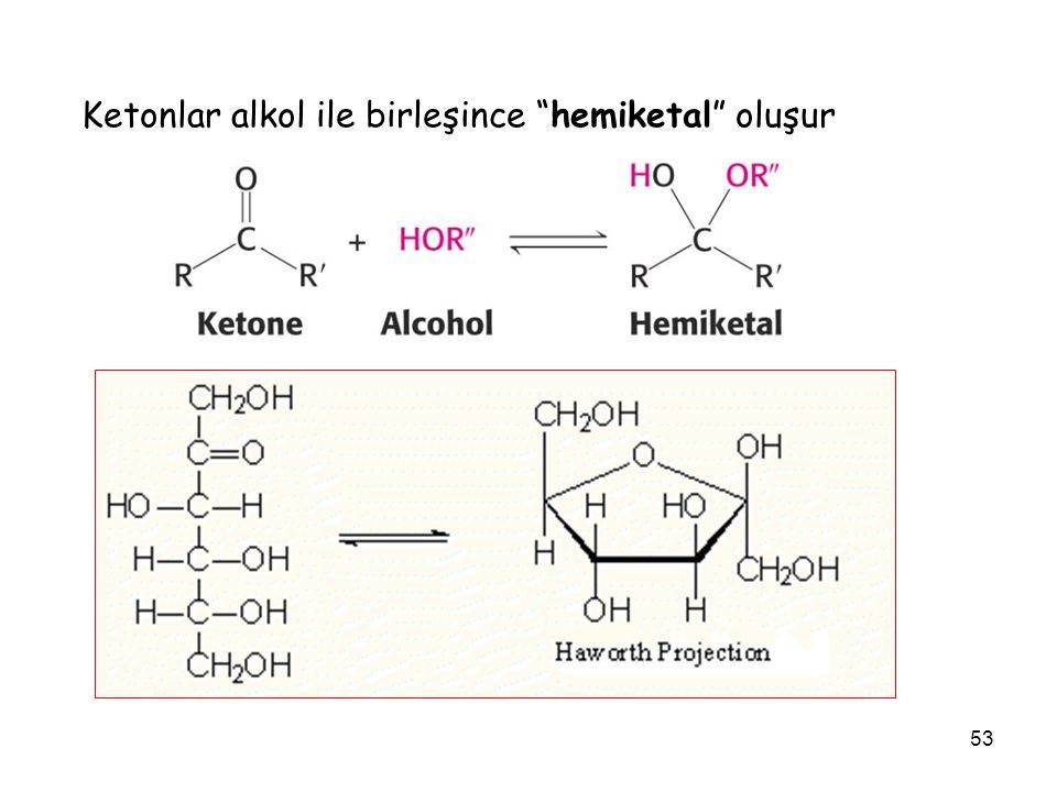 Ketonlar alkol ile birleşince hemiketal oluşur