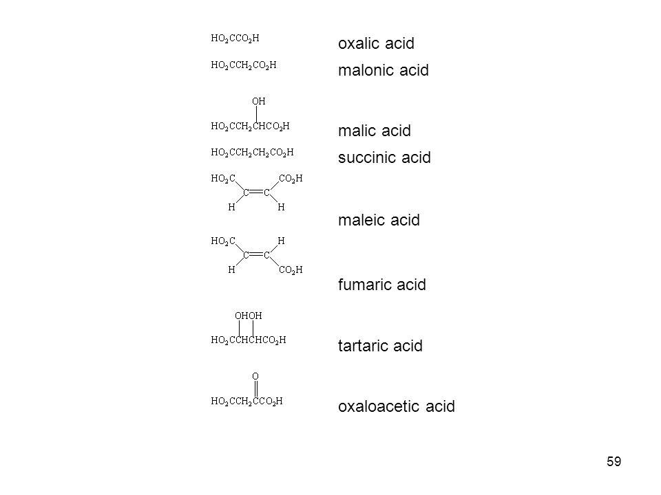 oxalic acid. malonic acid. malic acid.
