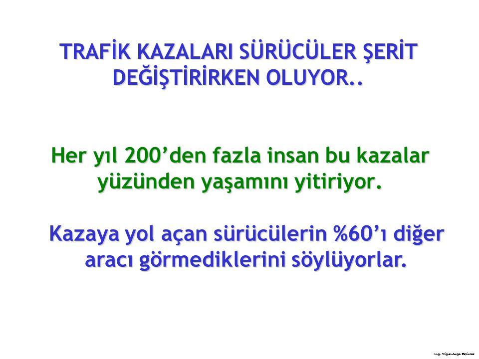 TRAFİK KAZALARI SÜRÜCÜLER ŞERİT DEĞİŞTİRİRKEN OLUYOR..