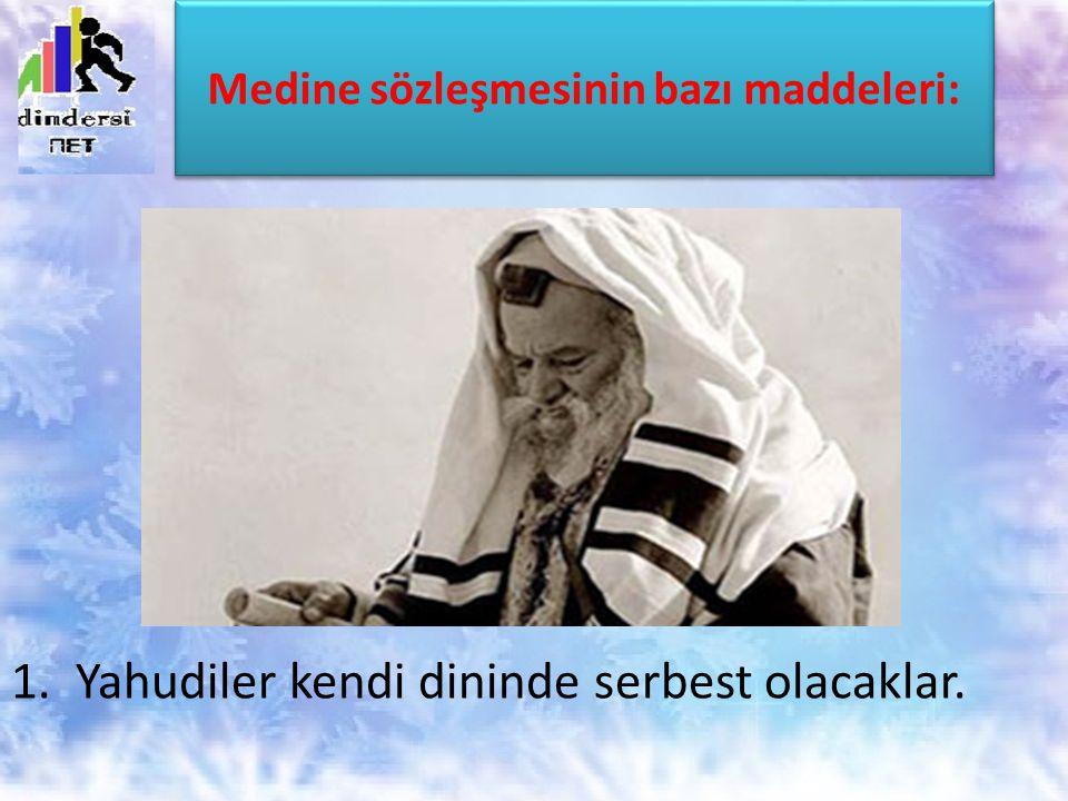 Medine sözleşmesinin bazı maddeleri: