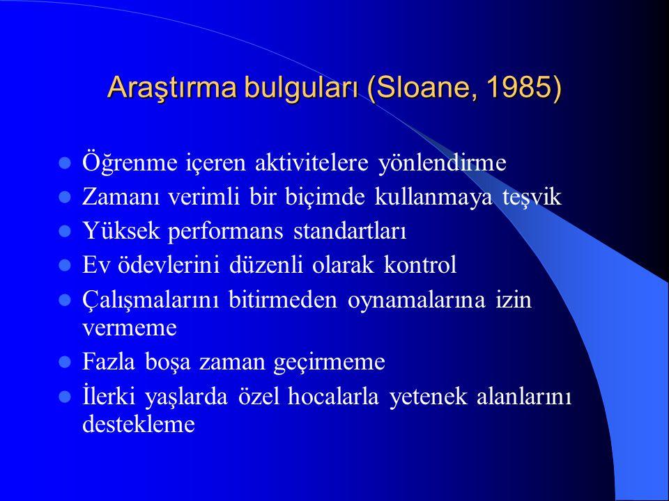 Araştırma bulguları (Sloane, 1985)