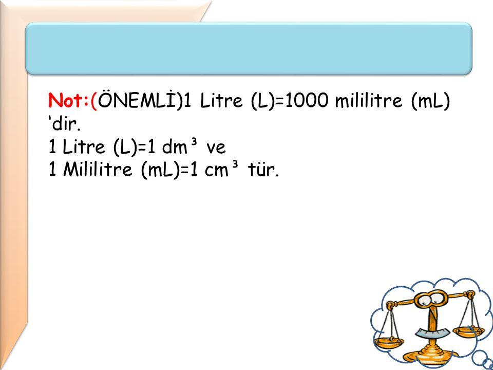 Not:(ÖNEMLİ)1 Litre (L)=1000 mililitre (mL) 'dir