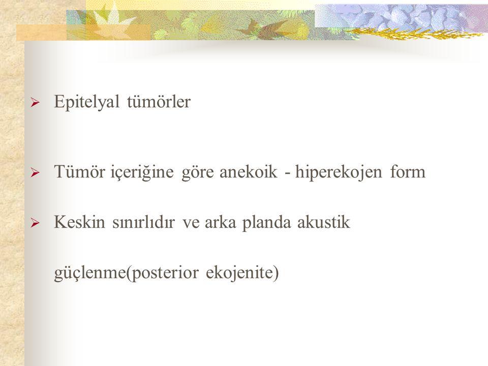 Epitelyal tümörler Tümör içeriğine göre anekoik - hiperekojen form.