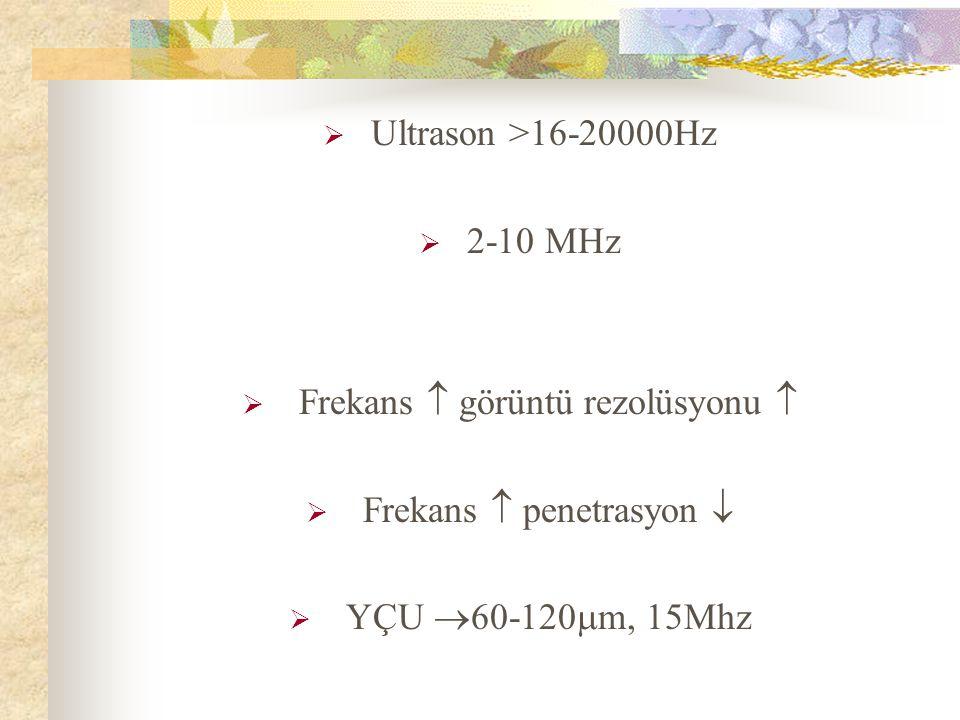 Frekans  görüntü rezolüsyonu  Frekans  penetrasyon 
