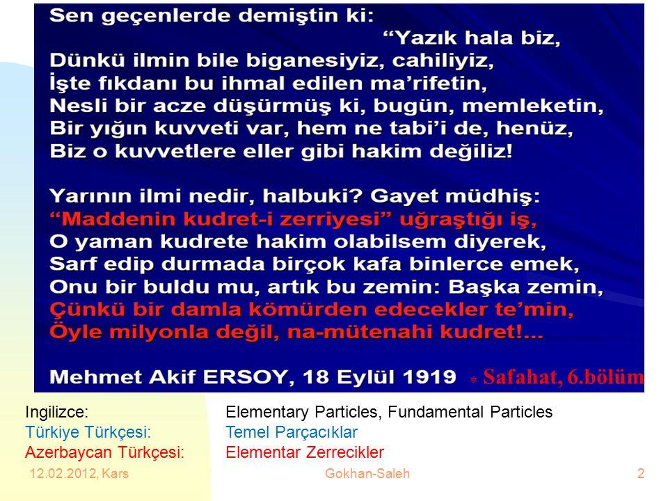 4/19/2017 Safahat, 6.bölüm. Ingilizce: Elementary Particles, Fundamental Particles. Türkiye Türkçesi: Temel Parçacıklar.