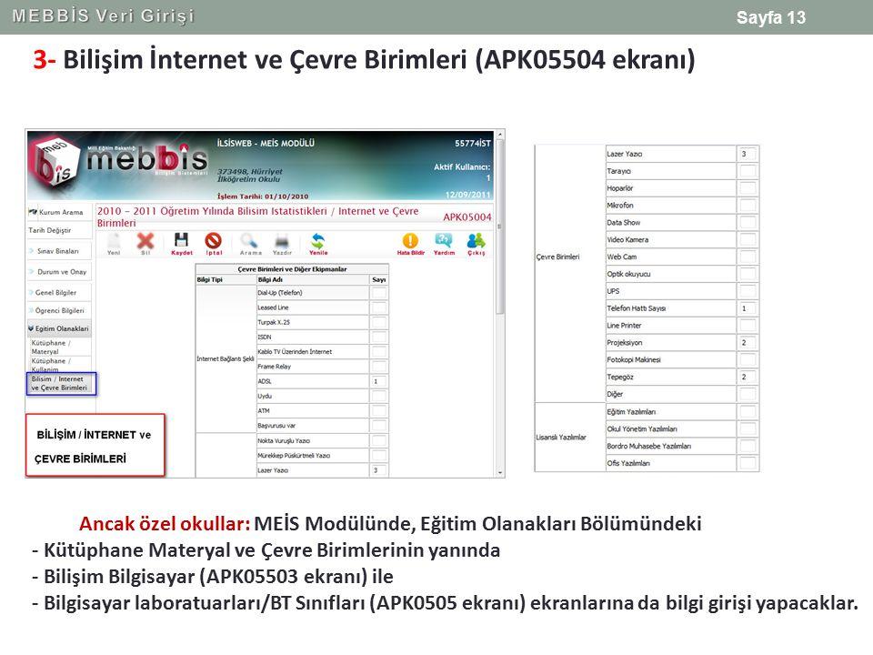 3- Bilişim İnternet ve Çevre Birimleri (APK05504 ekranı)
