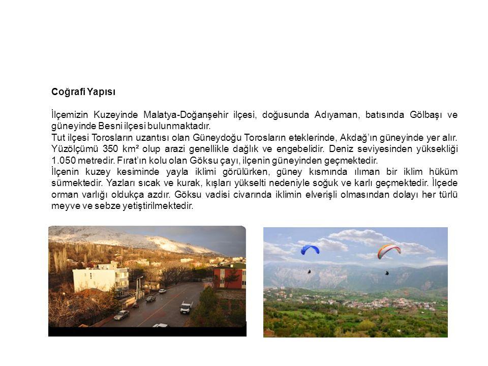 Coğrafi Yapısı İlçemizin Kuzeyinde Malatya-Doğanşehir ilçesi, doğusunda Adıyaman, batısında Gölbaşı ve güneyinde Besni ilçesi bulunmaktadır.