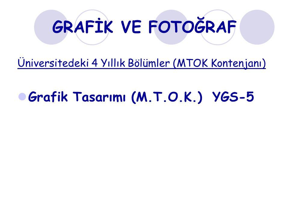 GRAFİK VE FOTOĞRAF Grafik Tasarımı (M.T.O.K.) YGS-5