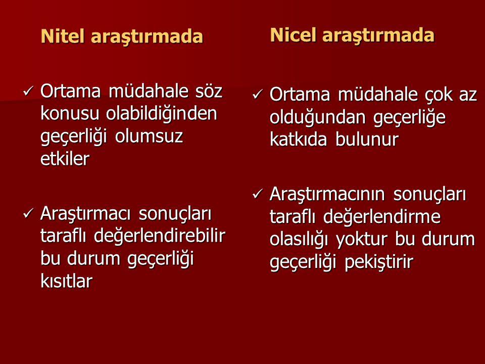 Nicel araştırmada Nitel araştırmada