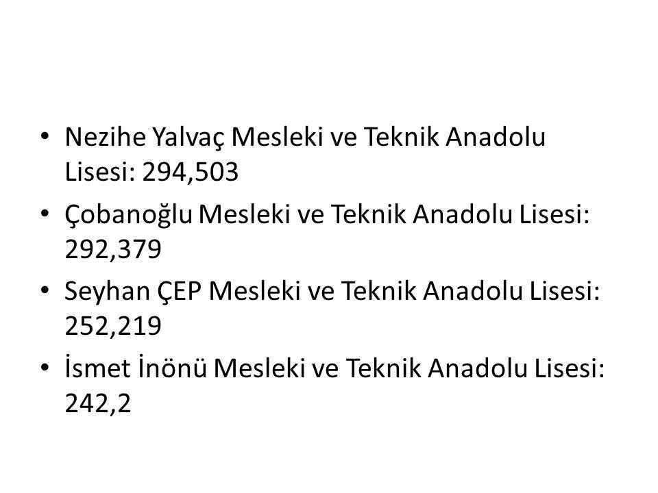Nezihe Yalvaç Mesleki ve Teknik Anadolu Lisesi: 294,503