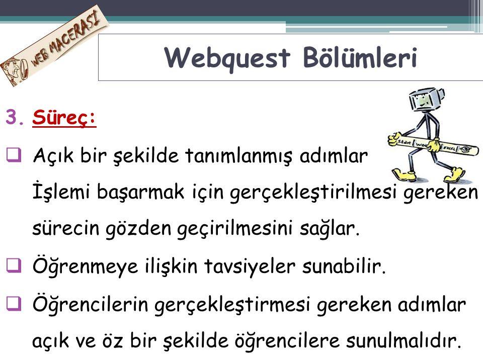 Webquest Bölümleri Süreç: