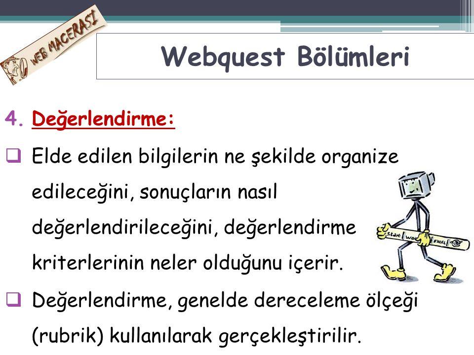 Webquest Bölümleri Değerlendirme: