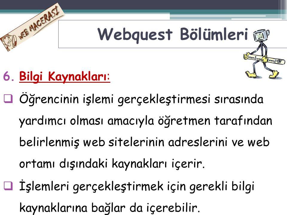 Webquest Bölümleri Bilgi Kaynakları: