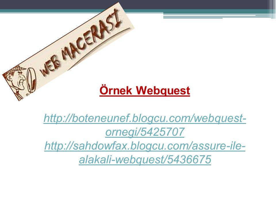 Örnek Webquest http://boteneunef.blogcu.com/webquest-ornegi/5425707.