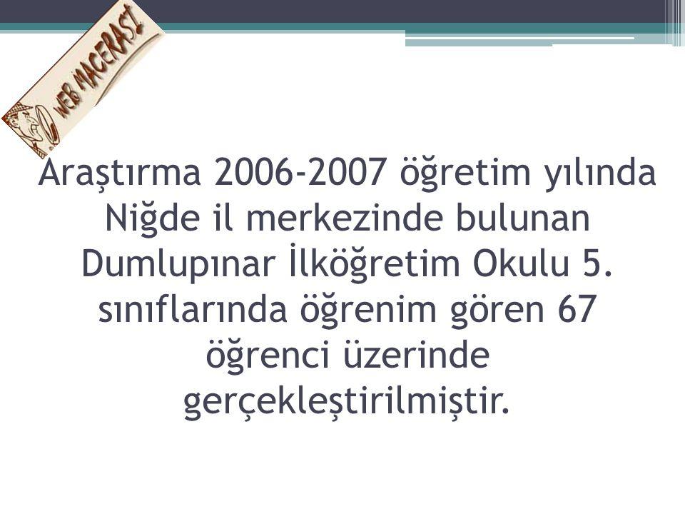 Araştırma 2006-2007 öğretim yılında Niğde il merkezinde bulunan Dumlupınar İlköğretim Okulu 5.
