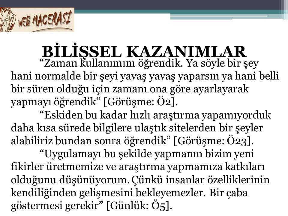 BİLİŞSEL KAZANIMLAR