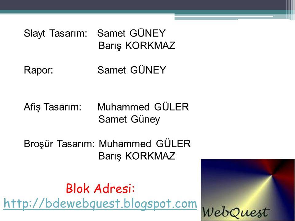 Blok Adresi: http://bdewebquest.blogspot.com