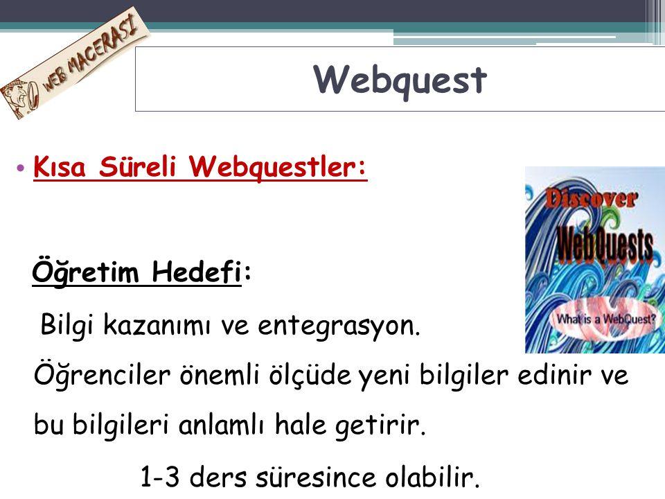 Webquest Kısa Süreli Webquestler: Öğretim Hedefi: