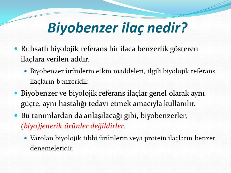 Biyobenzer ilaç nedir Ruhsatlı biyolojik referans bir ilaca benzerlik gösteren ilaçlara verilen addır.