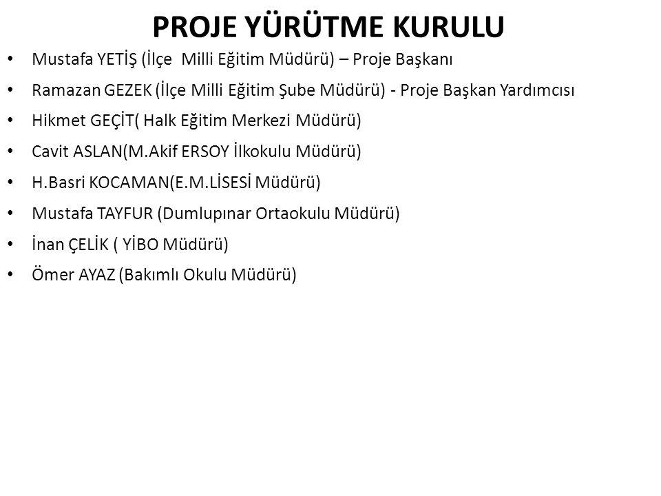 PROJE YÜRÜTME KURULU Mustafa YETİŞ (İlçe Milli Eğitim Müdürü) – Proje Başkanı.