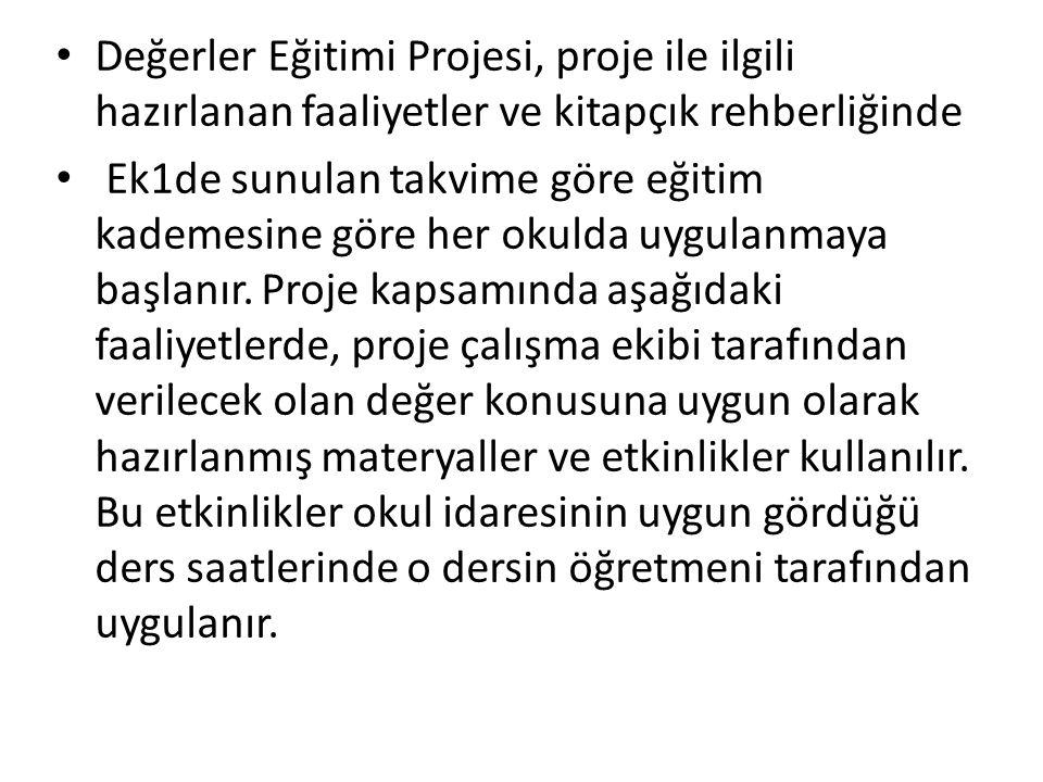 Değerler Eğitimi Projesi, proje ile ilgili hazırlanan faaliyetler ve kitapçık rehberliğinde