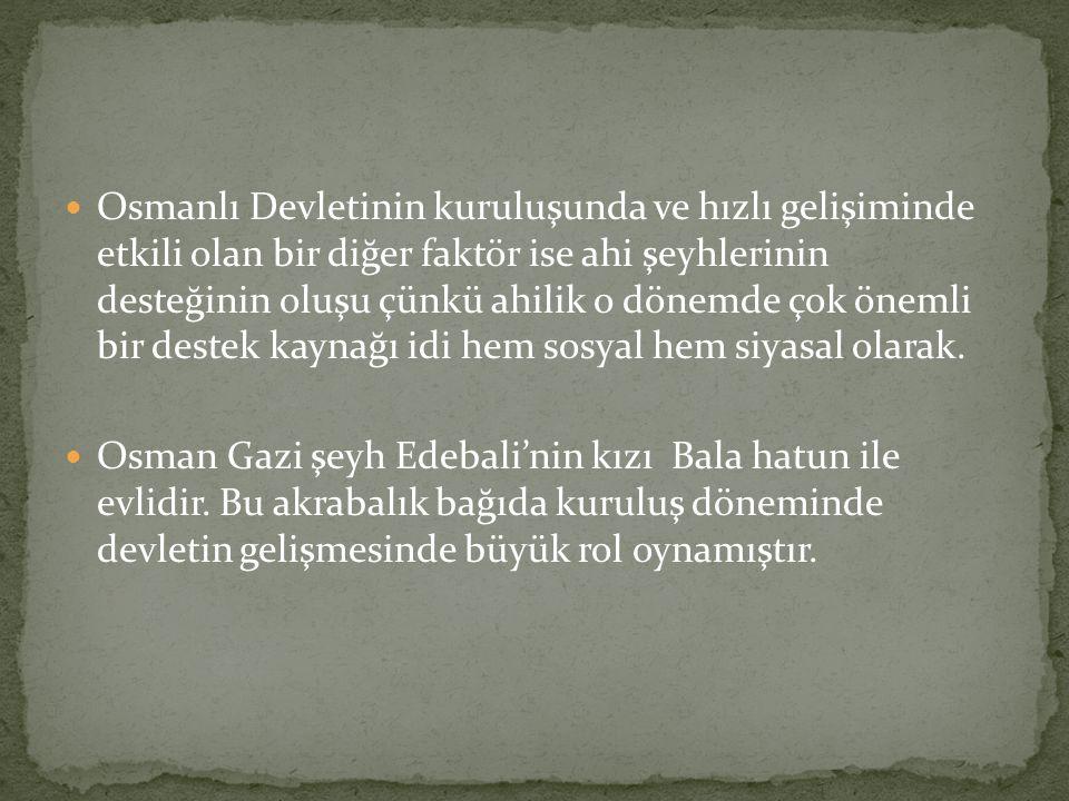 Osmanlı Devletinin kuruluşunda ve hızlı gelişiminde etkili olan bir diğer faktör ise ahi şeyhlerinin desteğinin oluşu çünkü ahilik o dönemde çok önemli bir destek kaynağı idi hem sosyal hem siyasal olarak.