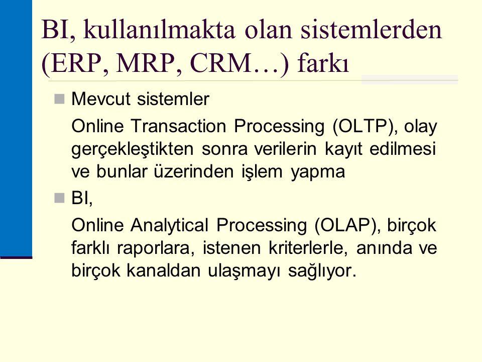 BI, kullanılmakta olan sistemlerden (ERP, MRP, CRM…) farkı