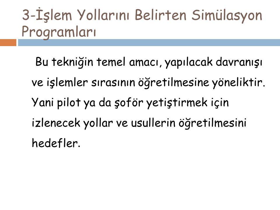 3-İşlem Yollarını Belirten Simülasyon Programları