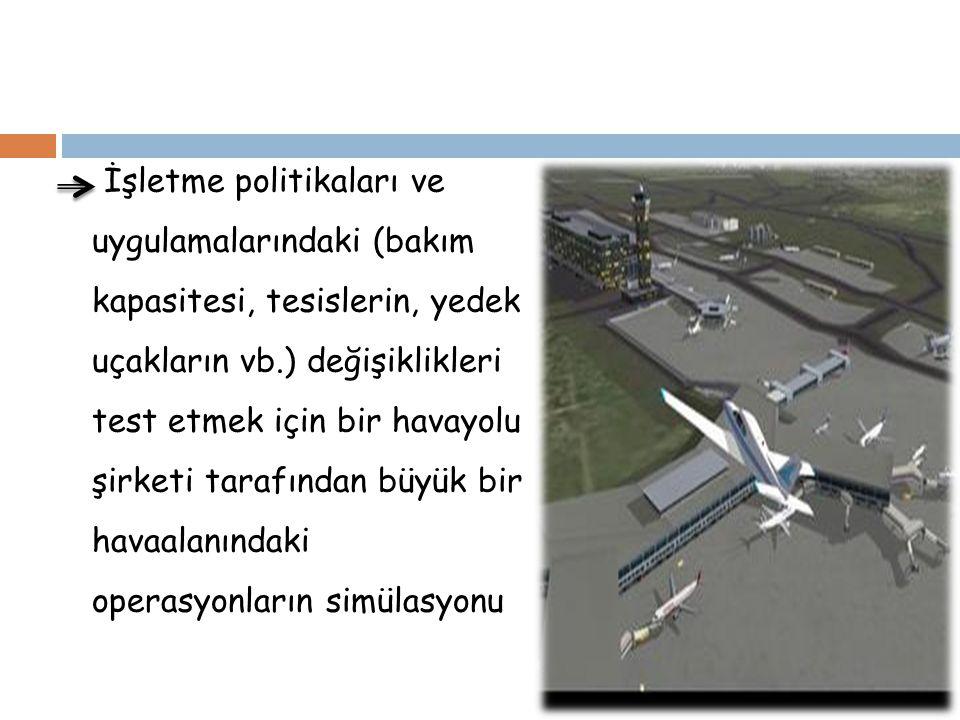 İşletme politikaları ve uygulamalarındaki (bakım kapasitesi, tesislerin, yedek uçakların vb.) değişiklikleri test etmek için bir havayolu şirketi tarafından büyük bir havaalanındaki operasyonların simülasyonu